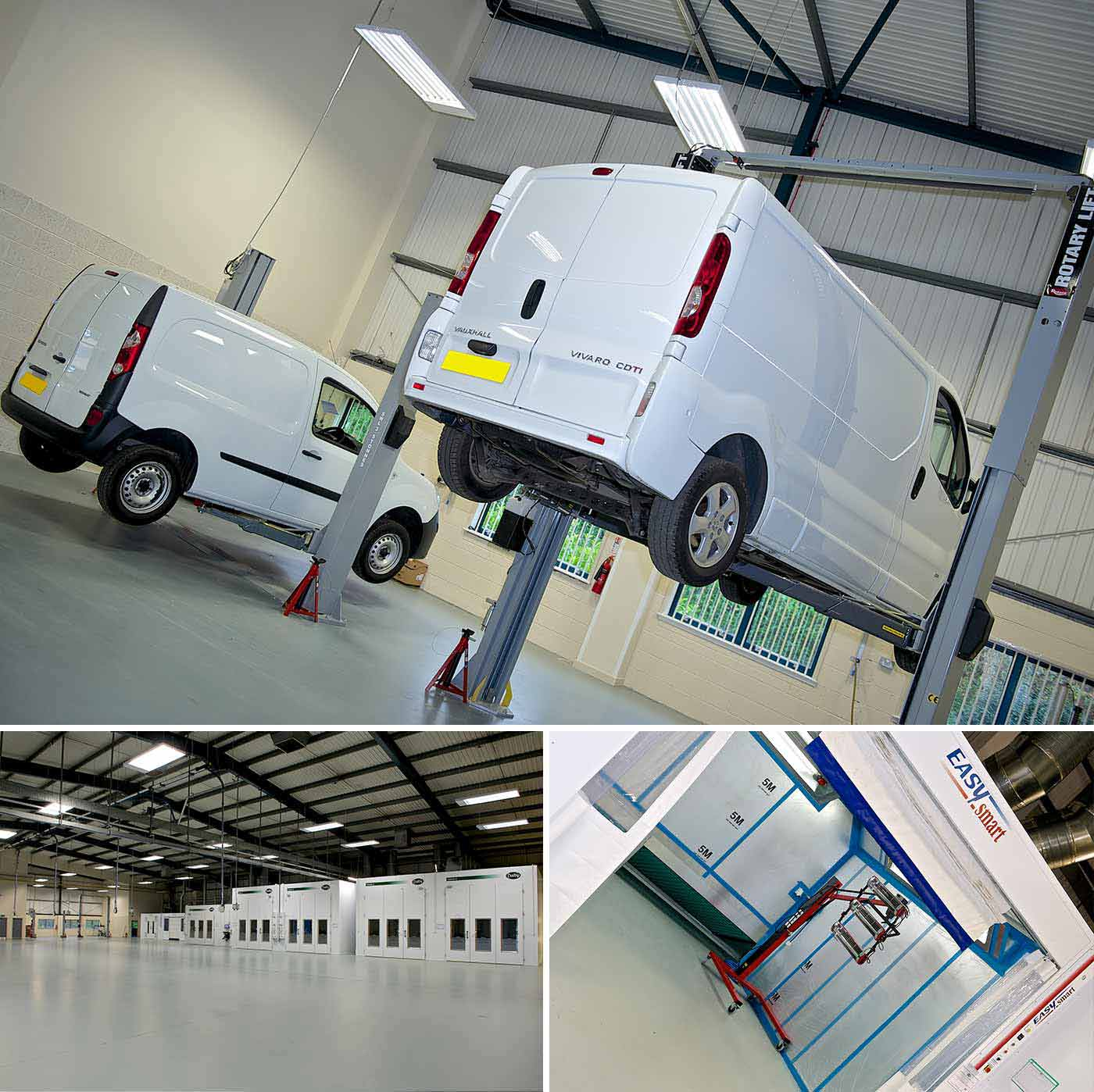 Vans on vehicle lifts and FLAG VR refurbishment facility